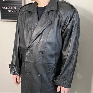 Vintage 90's Y2K Black Leather Duster Trench Coat
